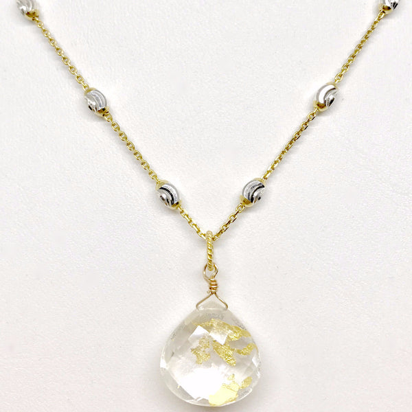 *LIMITED EDITION* Clear Quartz Gold Leaf Pendant Necklace