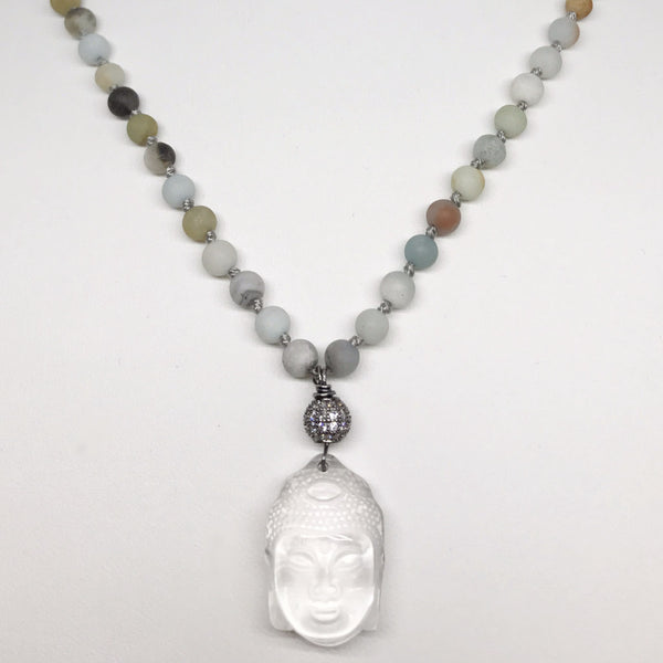*LIMITED EDITION* Amazonite Necklace with Crystal Mini Buddha