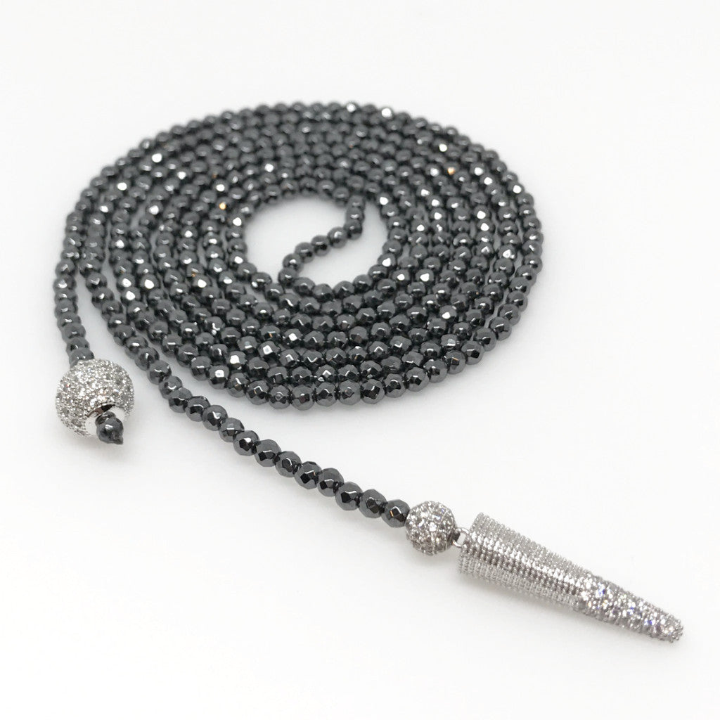 Hematite Lariat with Silver & CZ Ball and Pendulum
