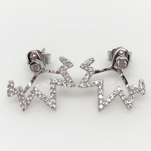 Sterling Silver CZ Earrings with Zig Zag Jacket