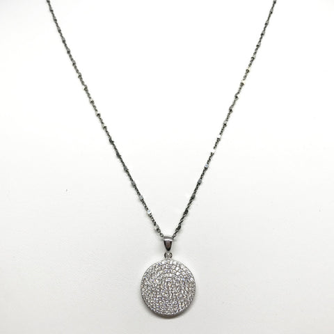 Sterling Silver CZ Disk Pendant Necklace