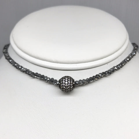 Oxidized Pave Ball and Smoky AB Crystal Choker Necklace