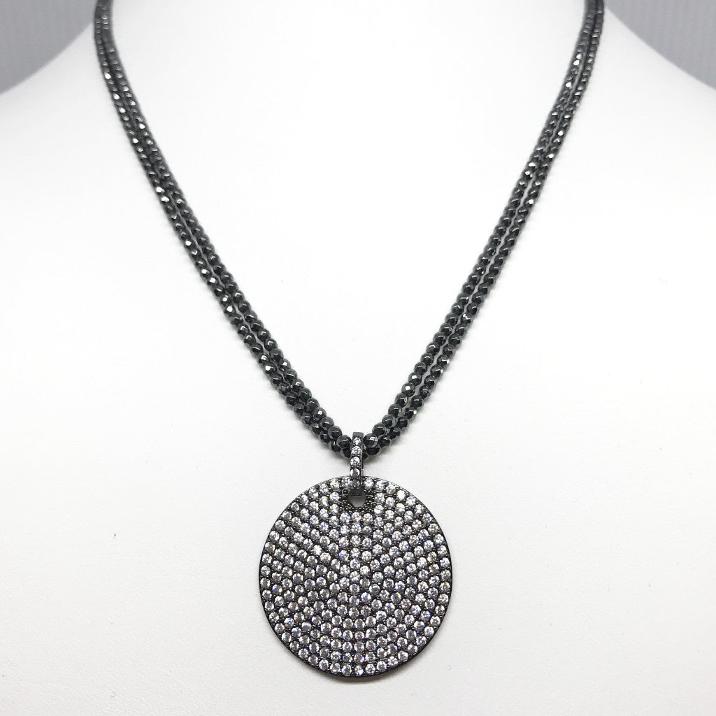 Faceted Hematite Necklace with Large Oxidized Silver Pave CZ Disk Pendant