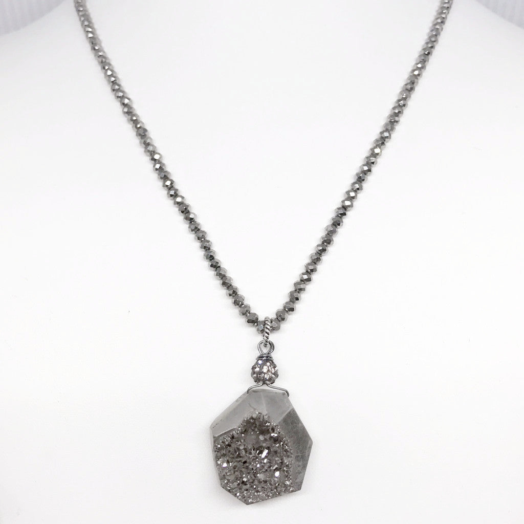 *LIMITED EDITION* Silver Crystal Necklace with Druzy Pendant