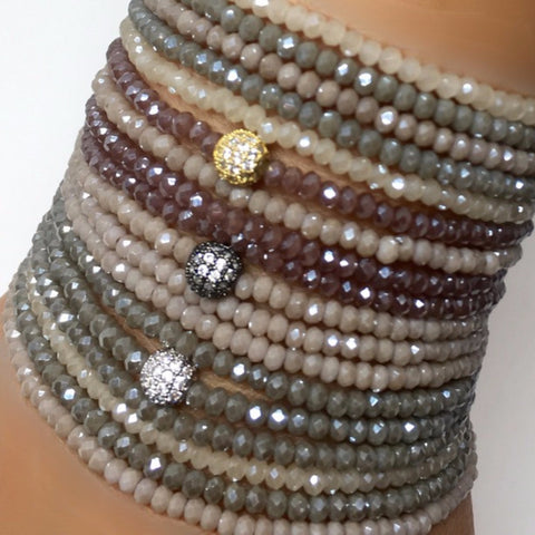 Triple Wrap Crystal Bracelets with Pave Ball