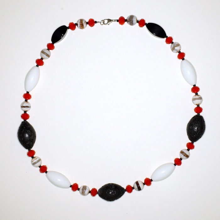 Glass, Agate and Lavastone Neck Piece