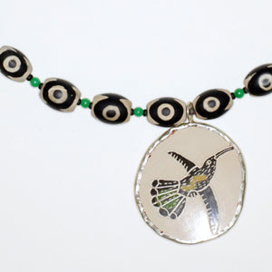 New Mexico Pueblo Ceramic Bird Pendant Necklace