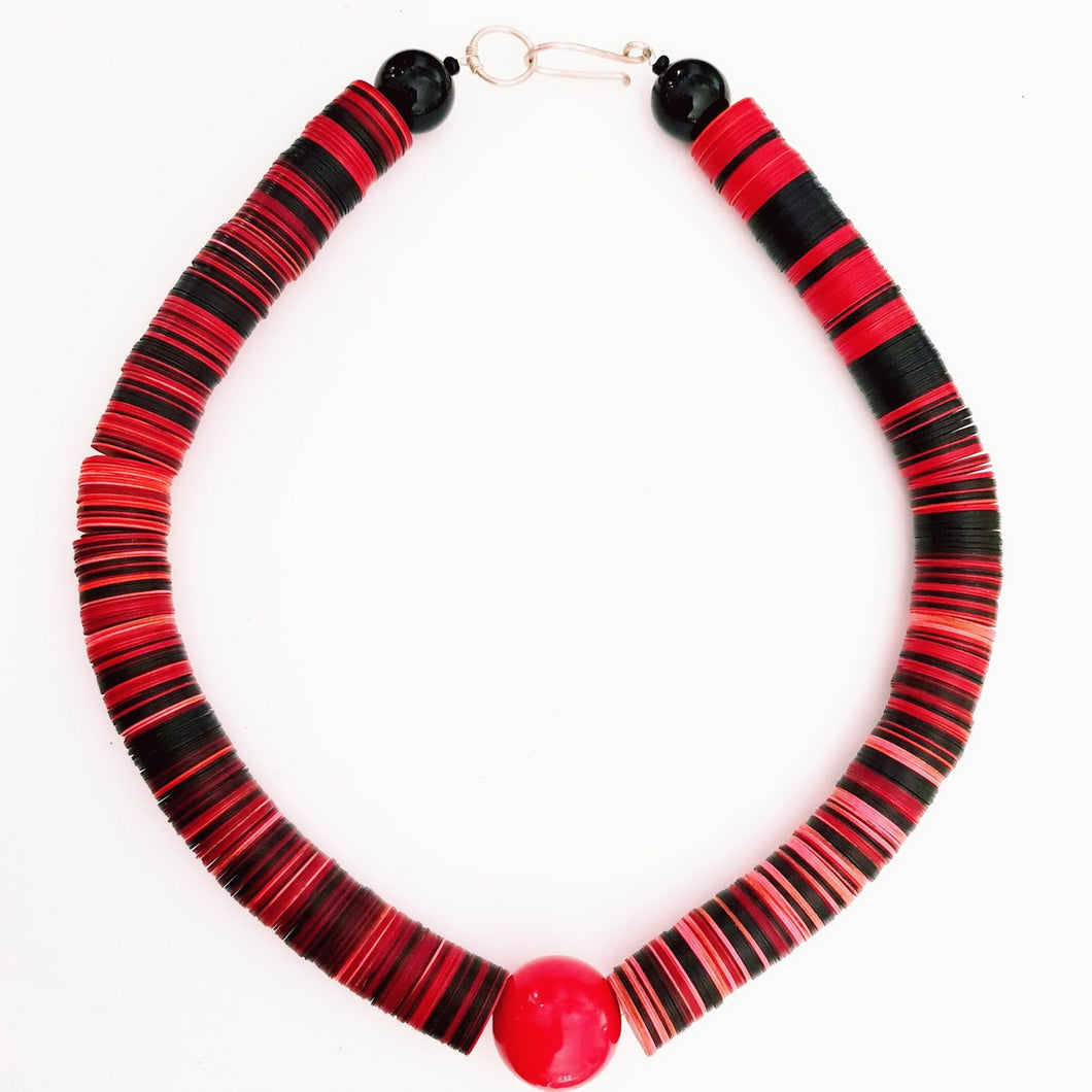 Recycled Plastic Disc Necklace Red