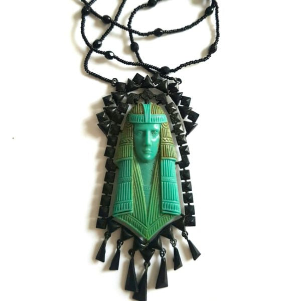 French Jet Egyptian Revivalist Pendant Necklace