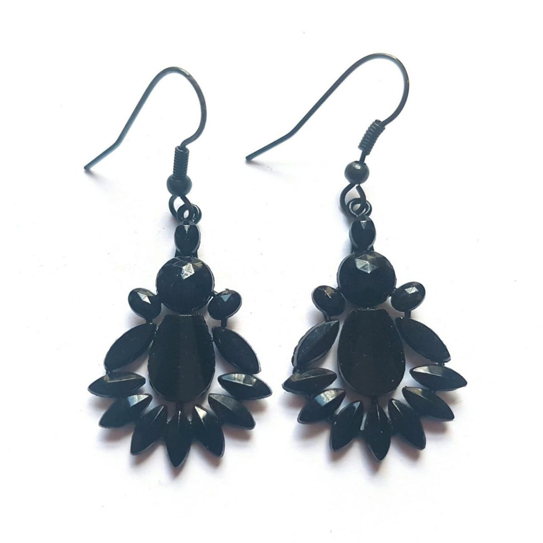 French Jet Navette Drop Earrings
