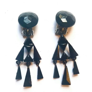 French Jet Clip On Triangle Earrings