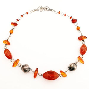 Facetted Amber and Sterling Silver Necklac