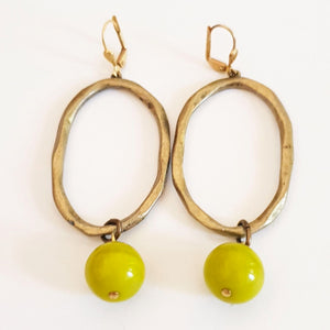Czech Glass Earrings Oval Drop Dangle Chartreuse