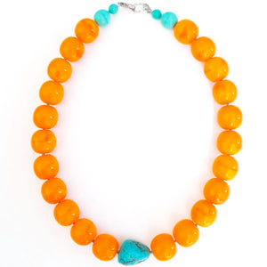 Chunky Glass Pumpkin Necklace with Turquoise Stone Accent
