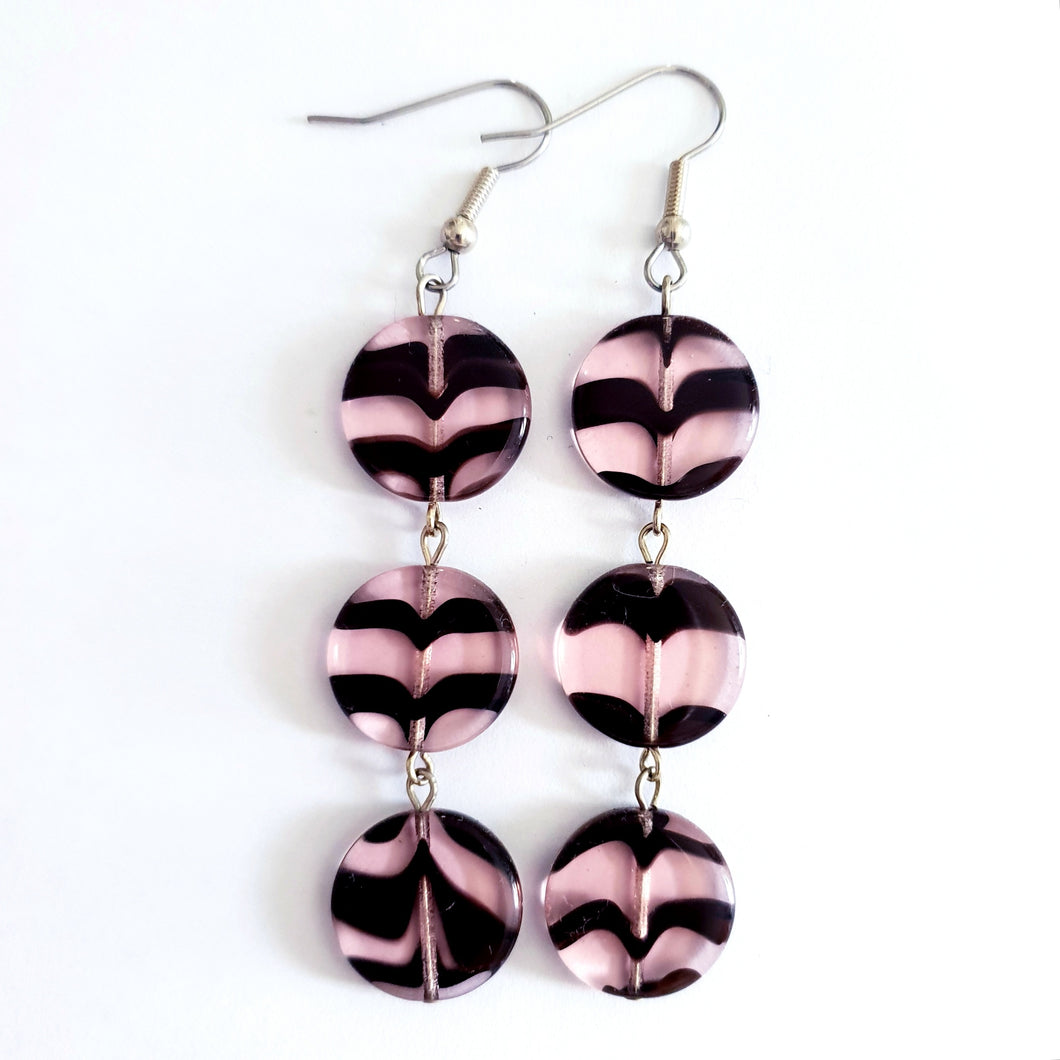 Czech Glass Animal Print Zebra and Surgical Steel Earrings Barely There Pink