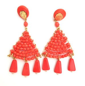 Boho Earrings Woven Beaded Triangle Fringe Coral