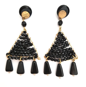 Boho Earrings Woven Beaded Triangle Fringe Black