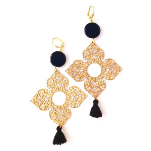 Boho Earrings Medina Brass Filigree Tassel Black