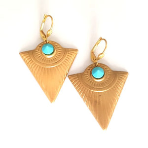Boho Earrings Arrow Brass & Swarovski Turquoise