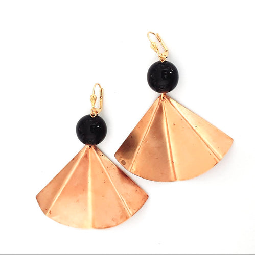 Boho Earring Brass Fan Black