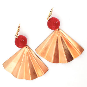 Boho Earring Brass Fan Cherry