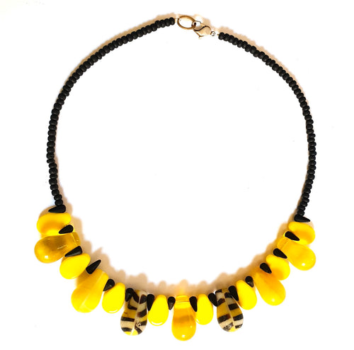 African Trade Bead Necklace Yellow