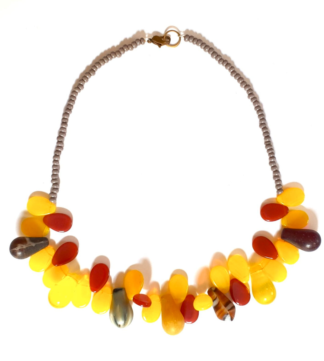 African Trade Bead Necklace Yellow Carnelian
