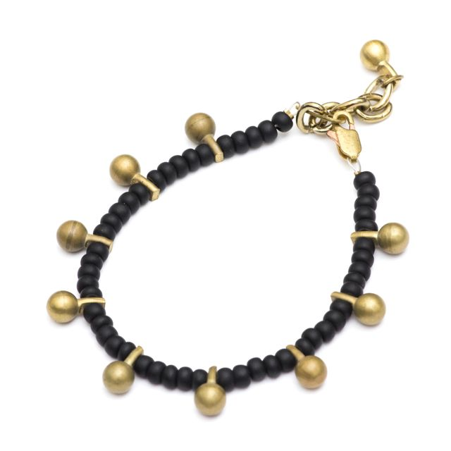 Boho Bracelet Beaded Matt Black w Brass Dangle