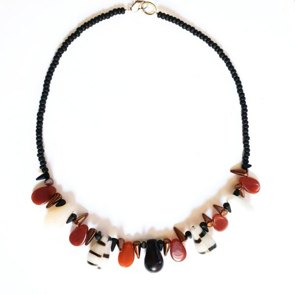 African Trade Bead Necklace Brown