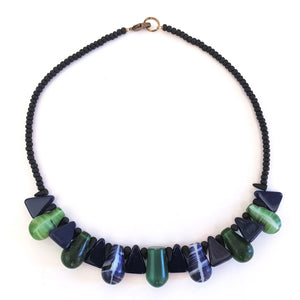 African Trade Bead Necklace Navy Green