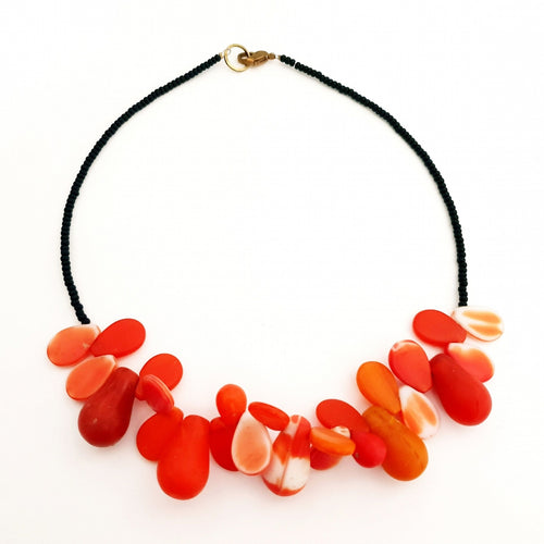 African Trade Bead Necklace Orange