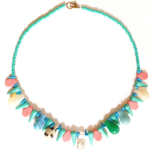 African Trade Bead Necklace Pastels