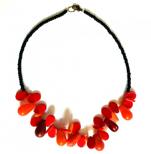 African Trade Bead Necklace Red Orange