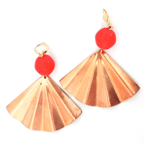 Boho Earring Brass Fan Red