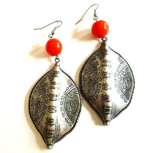 Boho Earrings Shield Orange Antique Silver