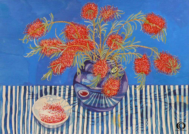 Calsitemons in Blue Vase by Anne Molony