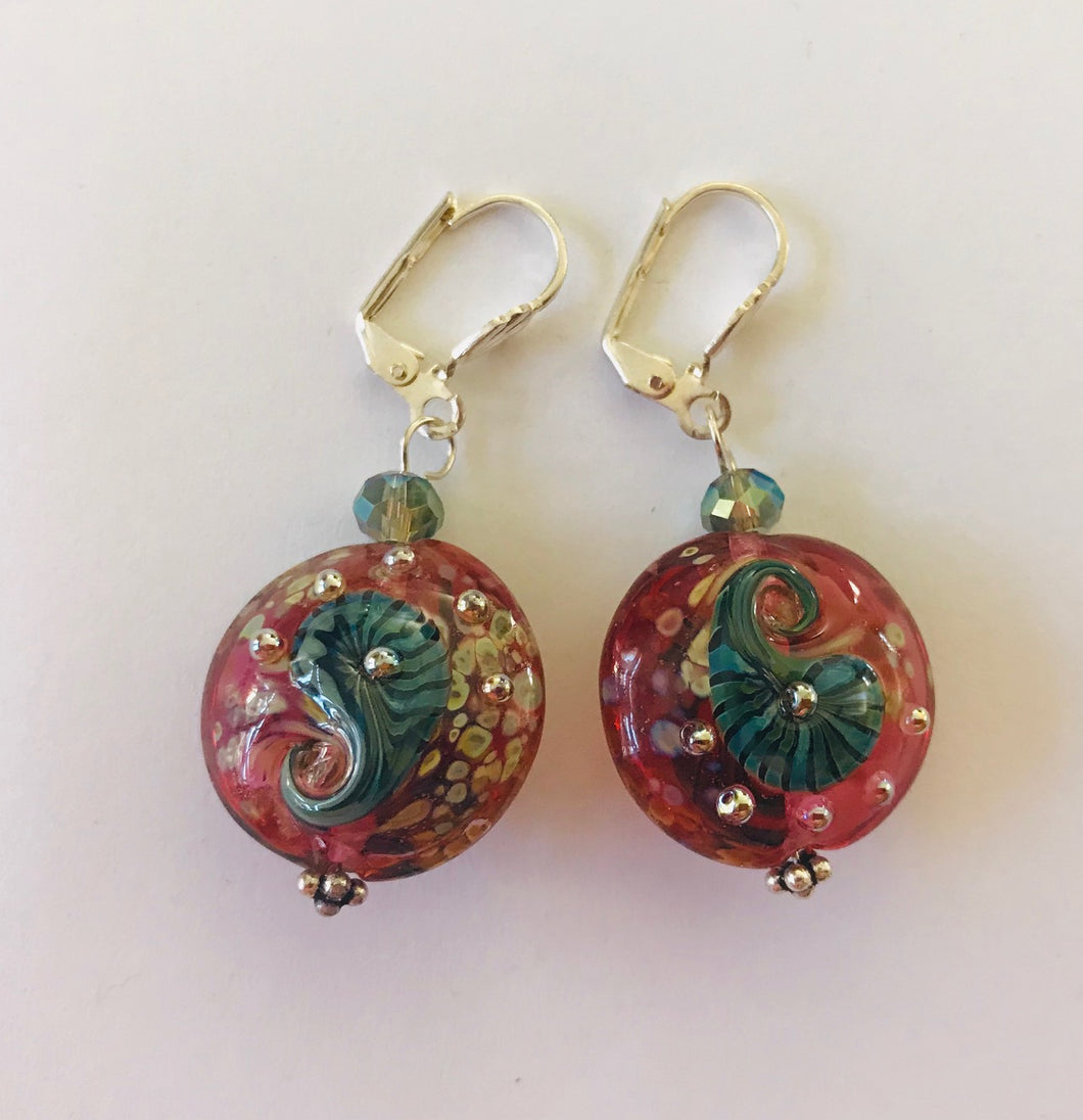 Unique Earrings with Cherry Red and Teal Glass Beads by Liz Deluca