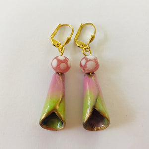 Stylish Earrings with Pink and Green Enamel Cone with Gold Trim Jan Rietdyk