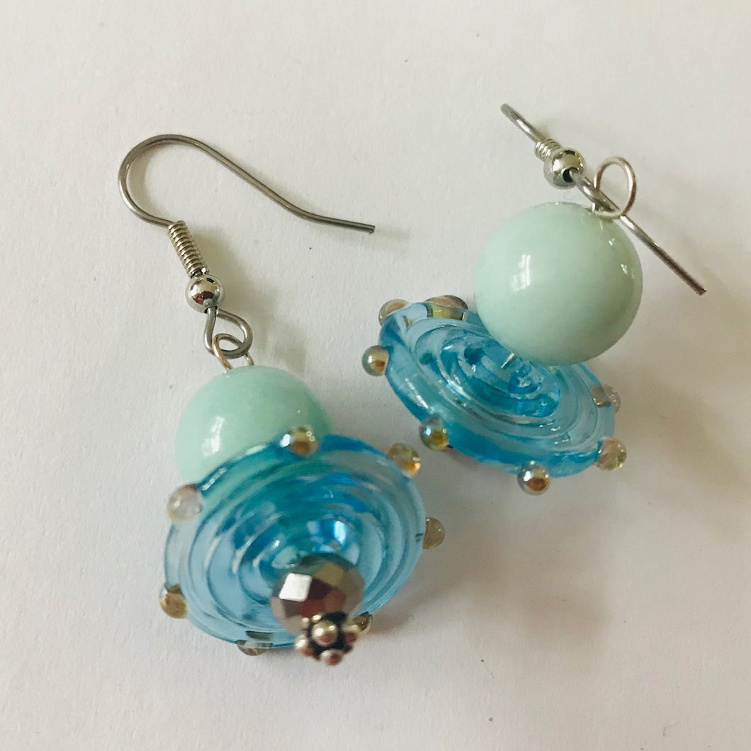Unique Pair of Earrings by Christine Smalley with Beads by Liz Deluca