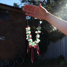 Load image into Gallery viewer, Prehnite and Vintage Chandelier Glass Bead Necklace by Kari Banick