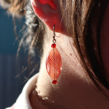 Load image into Gallery viewer, Hollow Red Glass Earrings by Susie Barnes
