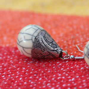 Gorgeous Tibetan Resin and Silver Bead Earrings