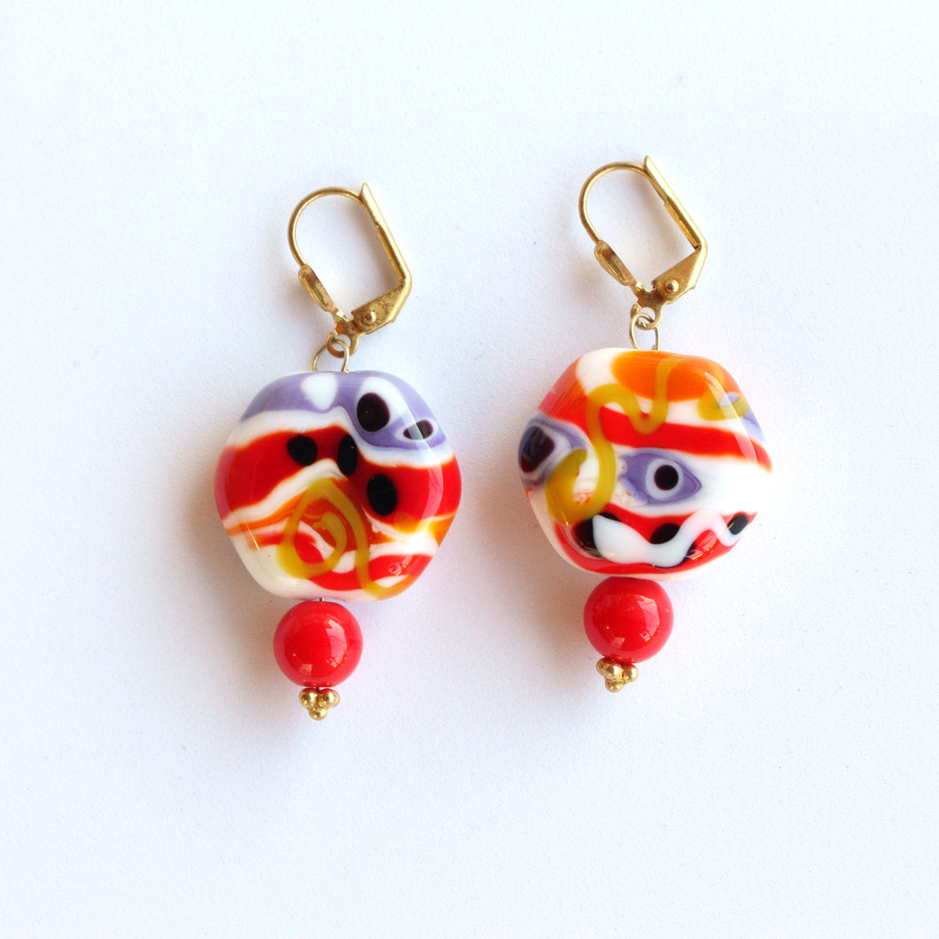 Funky Earrings with Handmade Glass Beads by Pauline Stevens