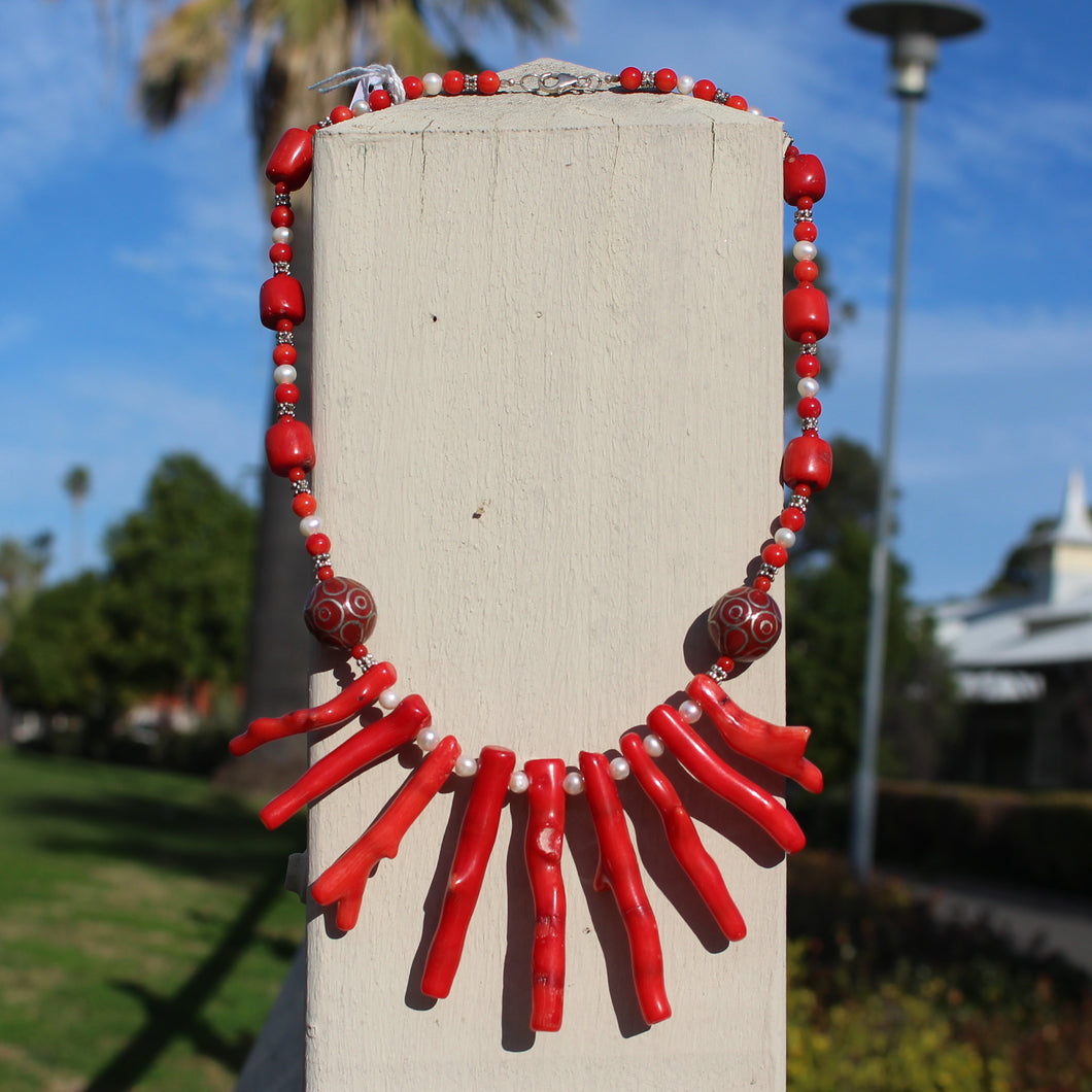 Coral, Glass, Freshwater Pearl & Silver Tibetan Bead Necklace