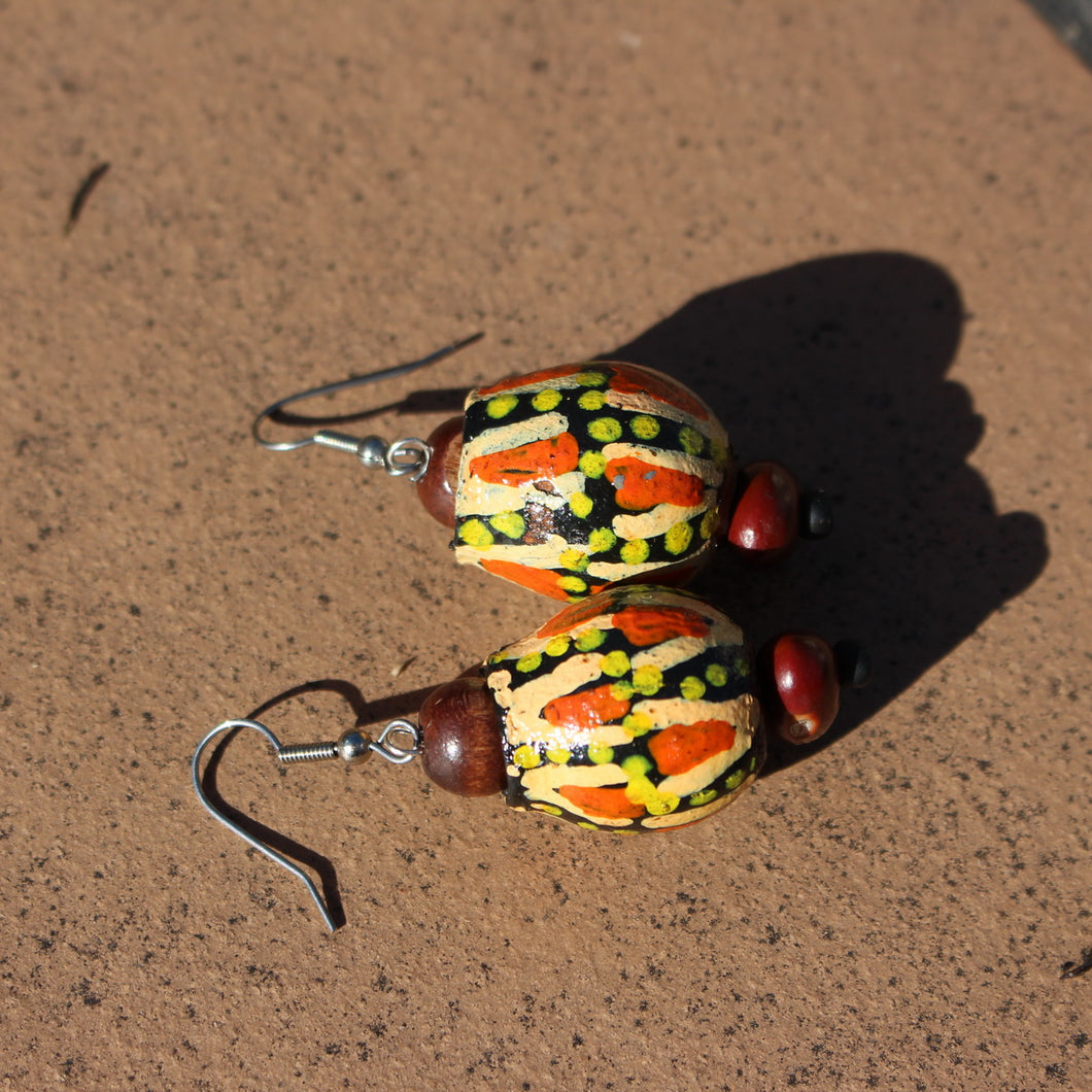 Handmade Earrings using Unique Painted Gumnuts by the Women of Camel Camp