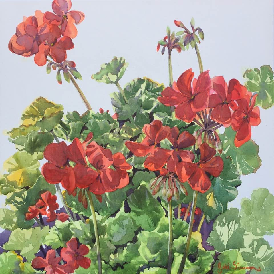 'Geraniums' Limited Edition Archival Print of a Julie Simmons Water Colour