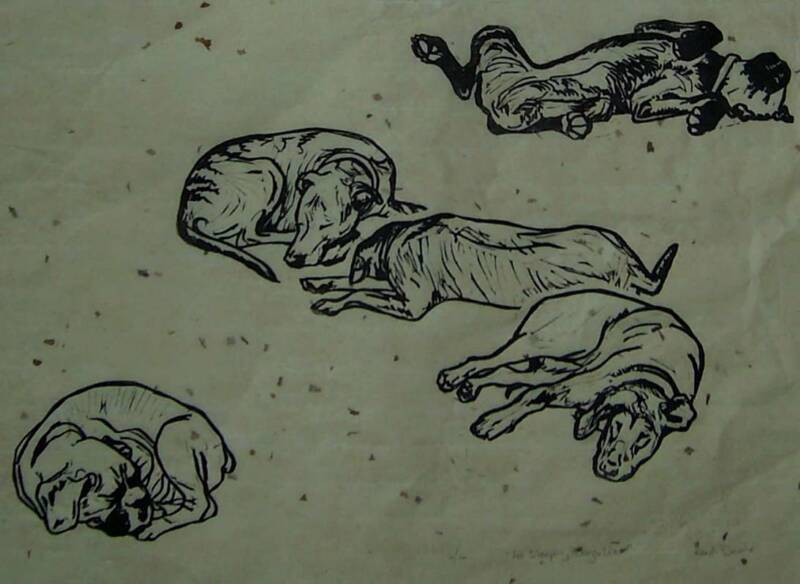 'Let Sleeping Dogs Lie' - Traditional Artist's Hand Pulled Print by Mellissa Read-Devine