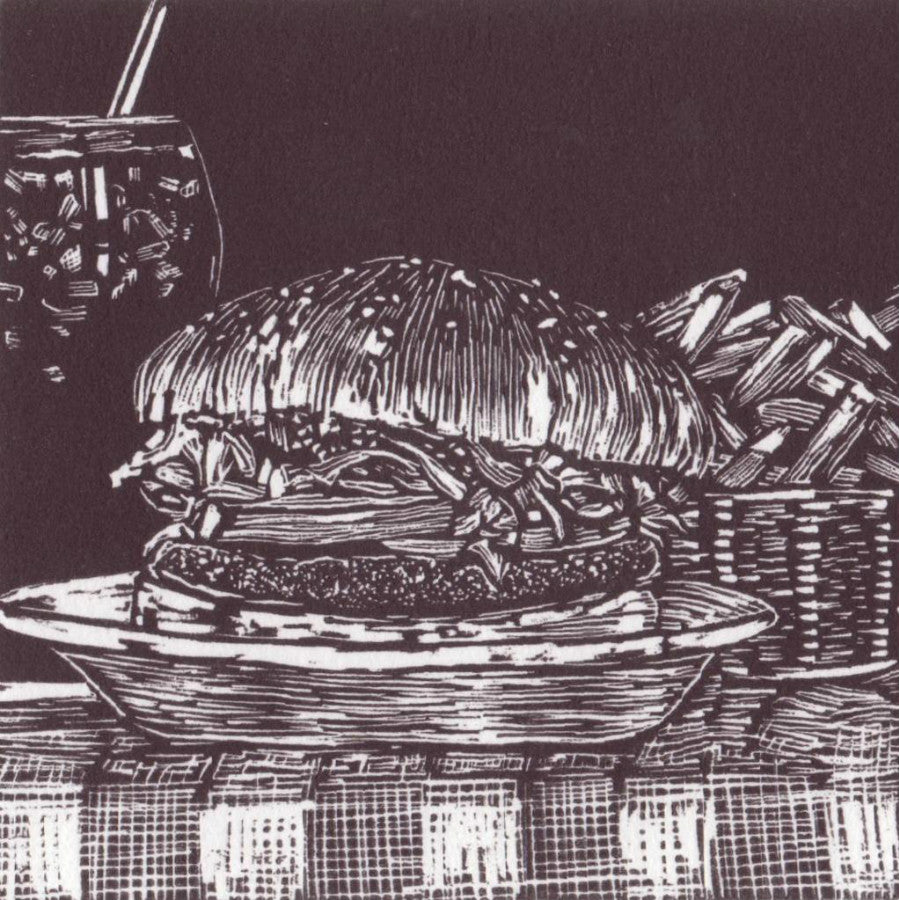 'Mighty Taurus Burger' - Traditional Artist's Hand Pulled Print by Mellissa Read-Devine