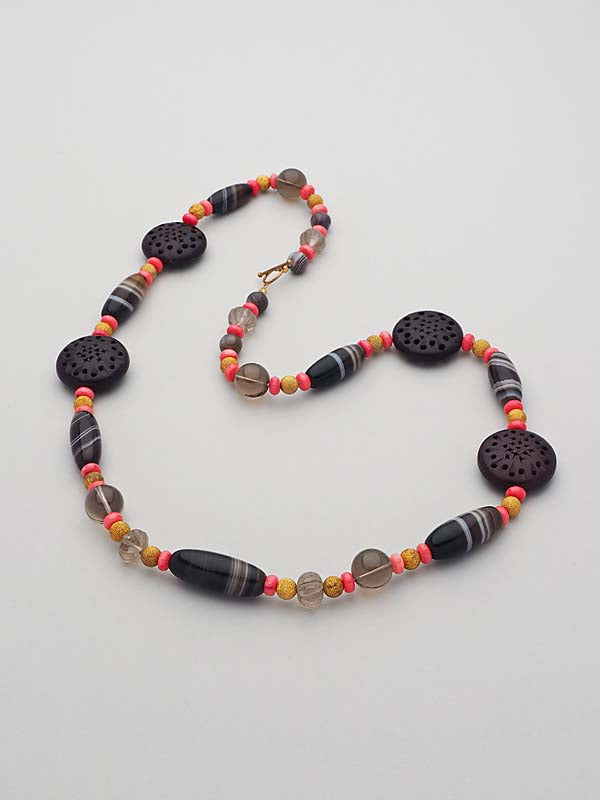 Gemstone, Wood and Coral Necklace