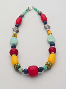 Eclectic Gemstone Tribal Necklace by Christine Smalley